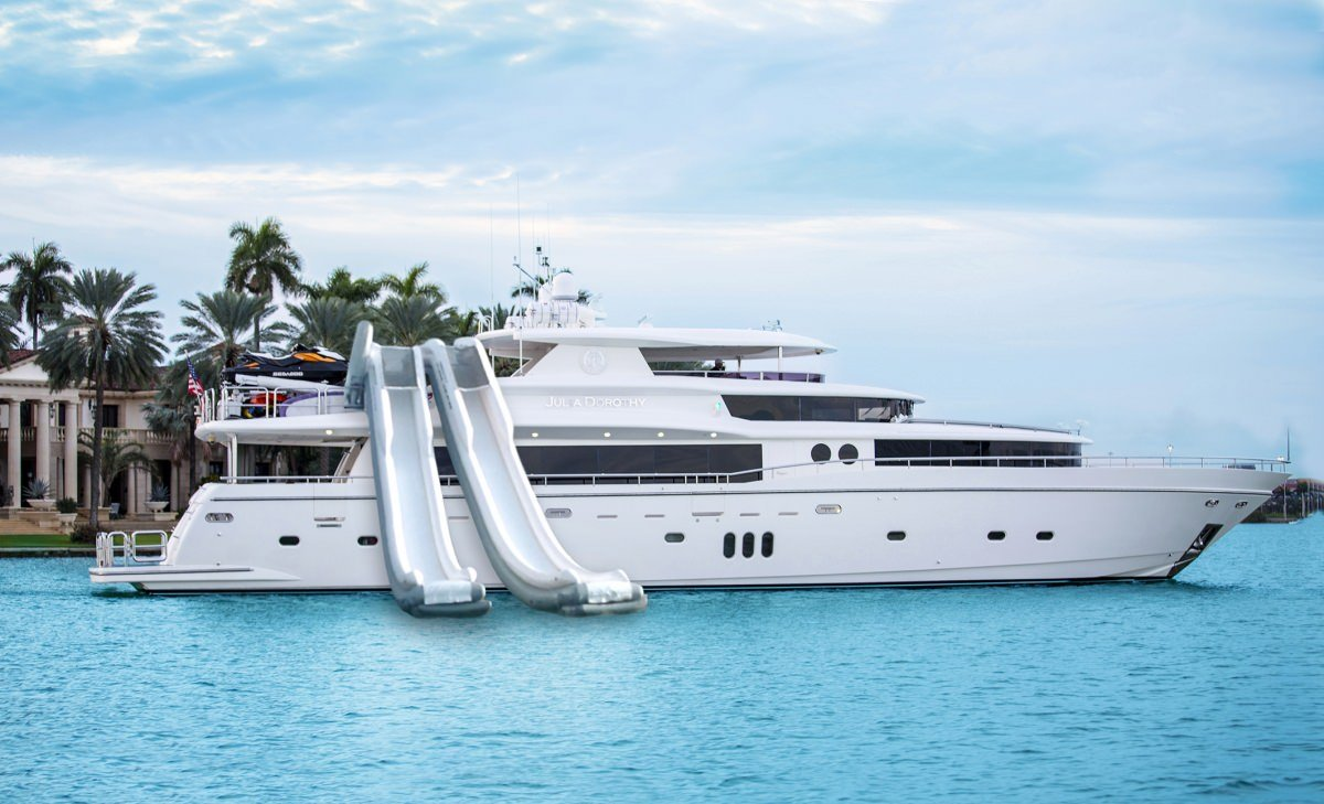 Superyacht Julia Dorothy with inflatable water slides deployed