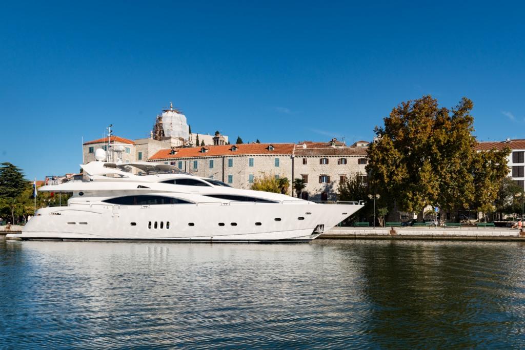 Superyacht Baby I docked at port in Croatia