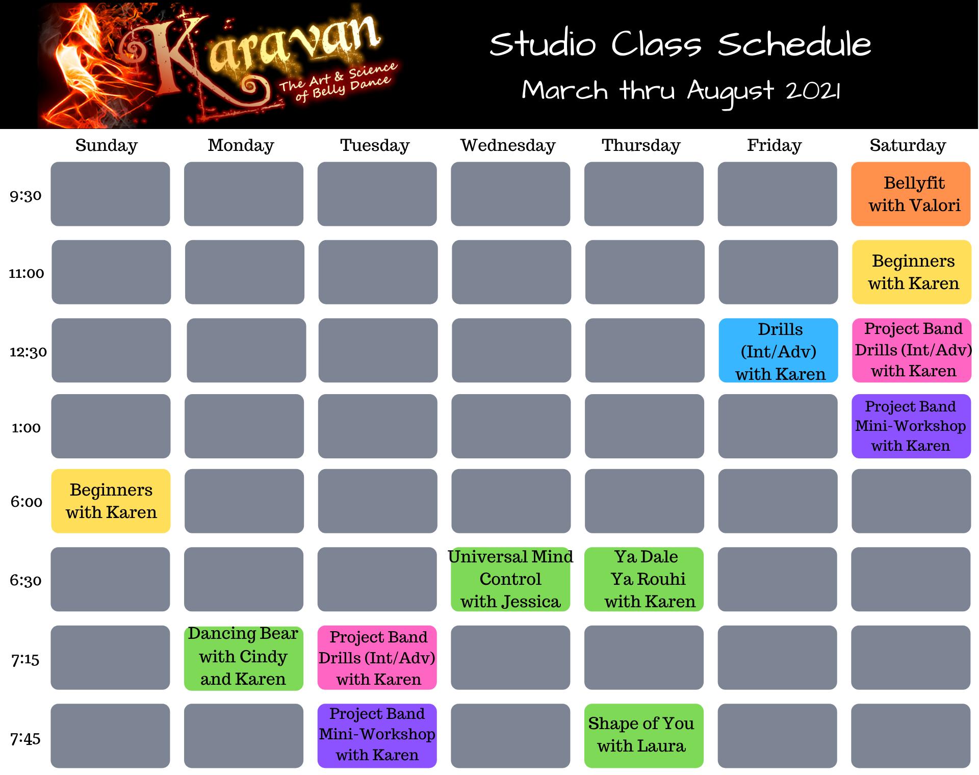 Karavan's March 2021 Studio Schedule