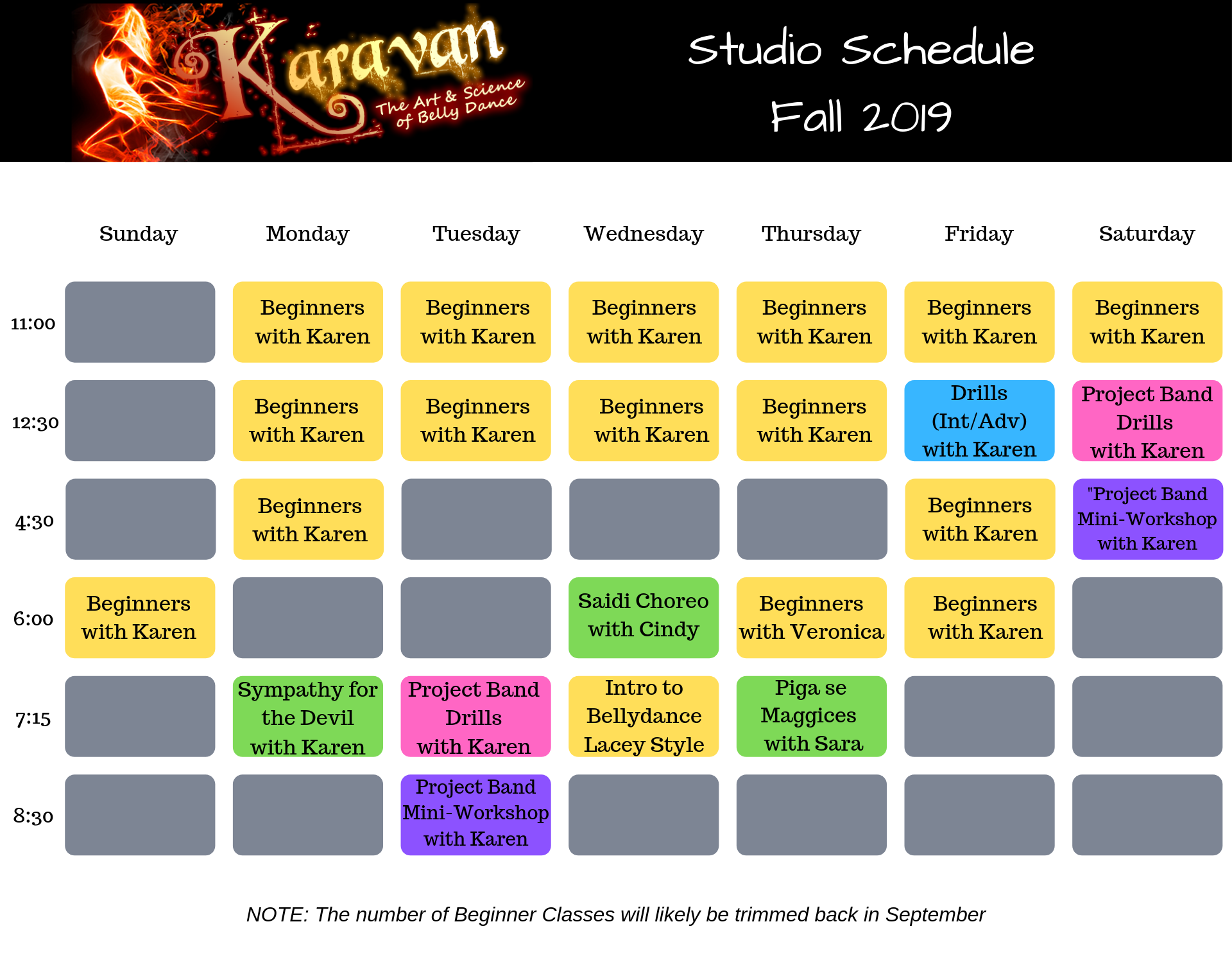 Karavan's Fall 2019 Studio Schedule