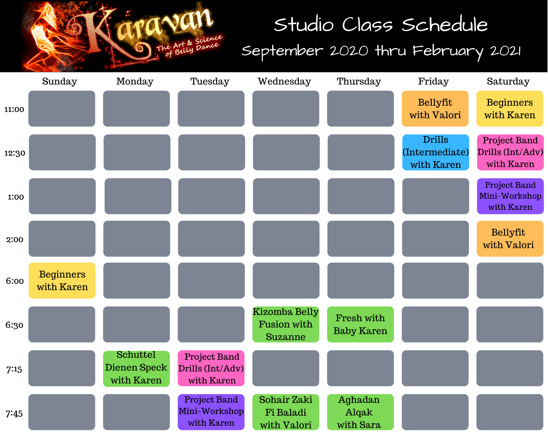 Karavan's September 2020 Studio Schedule
