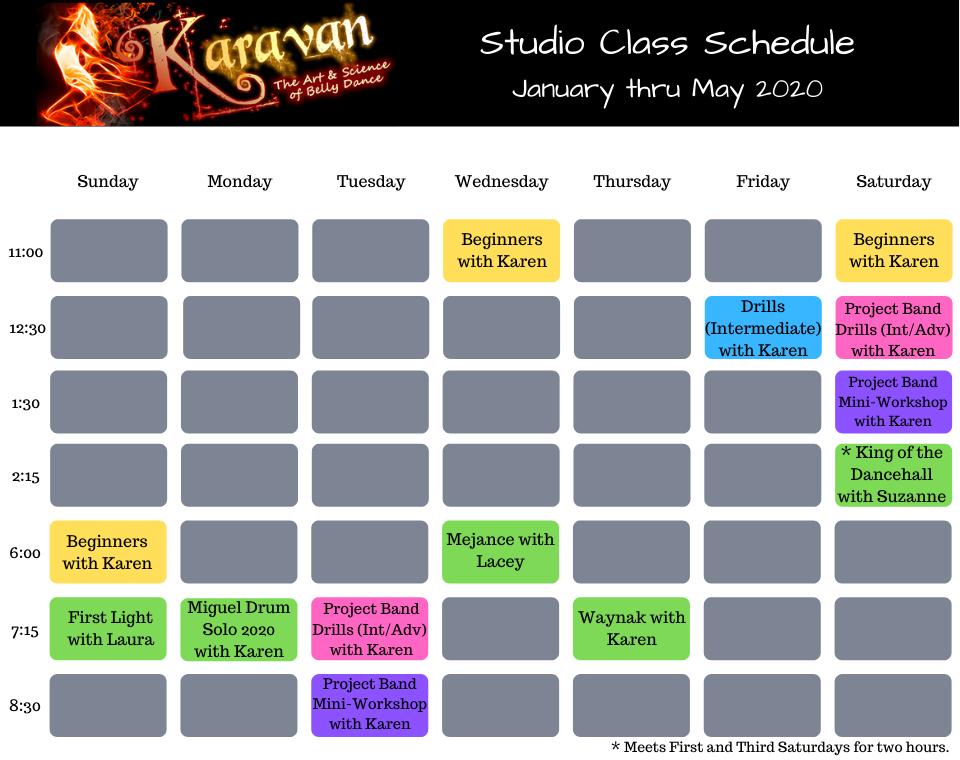 Karavan's Spring 2020 Studio Schedule
