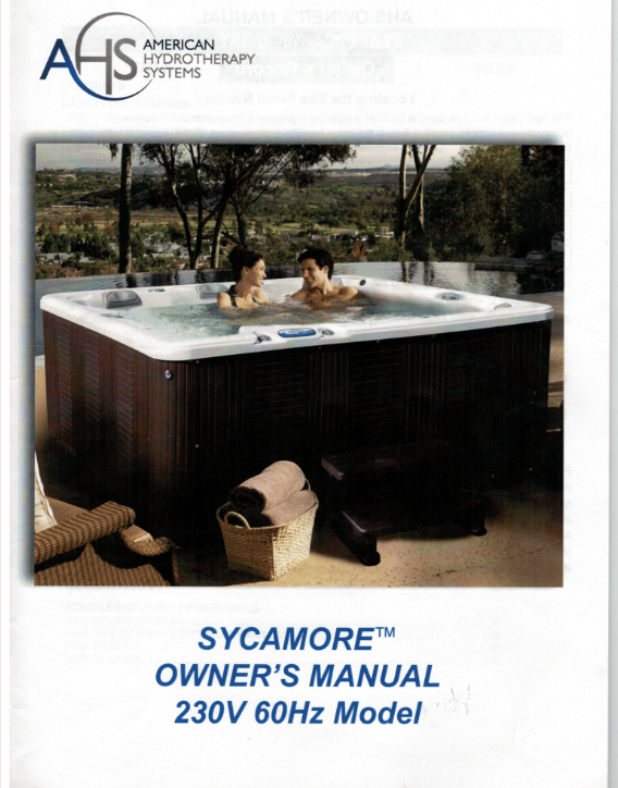 Sycamore Spas Owners manual