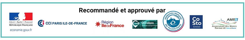 economie.gouv.fr, CCI Ile-de-France, Région Ile-de-France, CCI Store, Villages Etapes, CoSto, AMR77