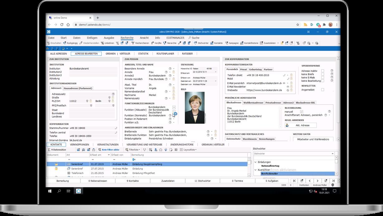 Screenshot von cobra CRM für Politische Kommunikation